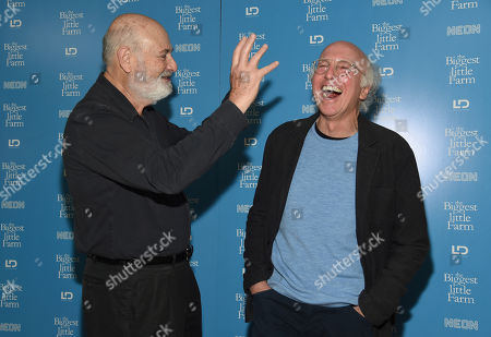 "Rob Reiner, Larry David. Director Rob Reiner, left, and writer/comedian Larry David share a laugh as they mingle on the red carpet at the premiere of the documentary film ""The Biggest Little Farm"" at The Landmark, in Los Angeles"