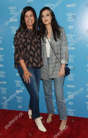 "Laurie David, Cazzie David. Laurie David, left, executive producer of the documentary film ""The Biggest Little Farm,"" poses with her daughter Cazzie at the premiere of the film at The Landmark, in Los Angeles"