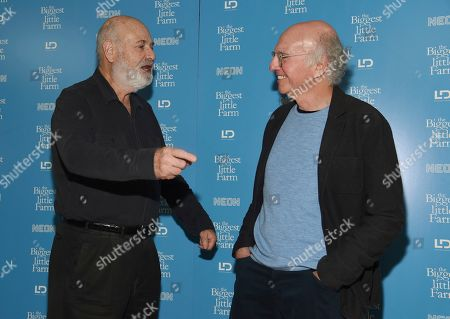 "Rob Reiner, Larry David. Director Rob Reiner, left, mingles with writer/comedian Larry David at the premiere of the documentary film ""The Biggest Little Farm"" at The Landmark, in Los Angeles"