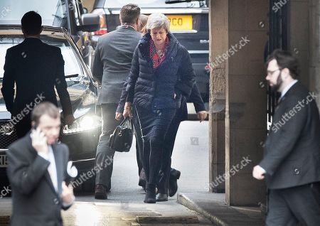 Prime Minister Theresa May arrives at Parliament where she is expected to meet with 1922 Committee Chairman Sir Graham Brady. High level cross party talks have re-started today in an attempt to reach a compromise over Brexit.
