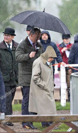 Queen Elizabeth II arrives to watch her horses in the 4 Year Old Hunter Class
