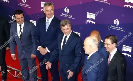 (L-R) Prime Minister of North Macedonia Zoran Zaev, Prime Minister of Montenegro Milo Djukanovic, Chairman of the Council of Ministers of Bosnia and Herzegovina Denis Zvizdic, Chair of the Board of Governors of the European Bank Jurki Katainen and Albanian Prime Minister Edi Rama attend the annual meeting of the European Bank for Reconstruction and Development (EBRD) at the Bosnian Assembly building in Sarajevo, Bosnia and Herzegovina, 08 May 2019.