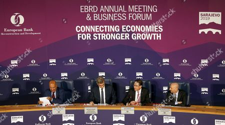 (L-R) European Bank President Suma Chakrabarti, Chairman of the Council of Ministers of Bosnia and Herzegovina Denis Zvizdic, Chair of the Board of Governors of the European Bank Jurki Katainen and Secretary General of the European Bank Enzo Quattrociocche during annual meeting of the European Bank for Reconstruction and Development (EBRD) at the Bosnian Assembly building in Sarajevo, Bosnia and Herzegovina, 08 May 2019.