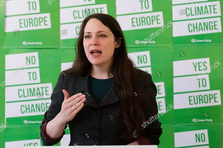 Stock Picture of Deputy leader, Amelia Womack speaking at the Green Party European election campaign launch, held at the Candid Arts Trust.