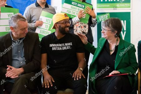 MEP Green Party candidate for Yorkshire and Humber, Magid Magid is congratulated after his speech by MEP Green Party candidate for South West, Molly Scott-Cato at the Green Party European election campaign launch, held at the Candid Arts Trust.