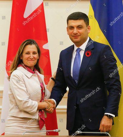 Volodymyr Groysman, Chrystia Freeland. Ukrainian Prime Minister Volodymyr Groysman, right, welcomes Canada's Foreign Minister Chrystia Freeland during their meeting in Kiev, Ukraine