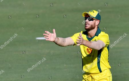 David Warner of the Australia XI is seen fielding during the One-Day cricket practice match before the World Cup between the Australia XI and New Zealand XI at Allan Border Field in Brisbane, 08 May 2019.