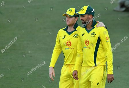 Steve Smith (L) and Nathan Lyon (R) of the Australia XI are seen during the One-Day cricket practice match before the World Cup between the Australia XI and New Zealand XI at Allan Border Field in Brisbane, 08 May 2019.