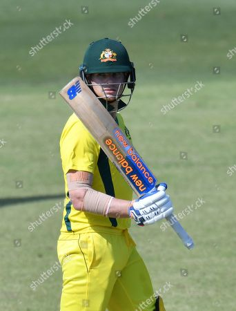 Steve Smith of the Australia XI celebrates his half-century during the One-Day cricket practice match before the World Cup between the Australia XI and New Zealand XI at Allan Border Field in Brisbane, 08 May 2019.