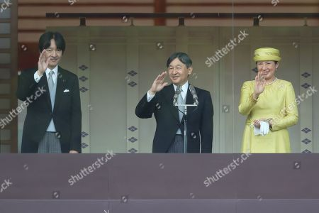 Japan's Crown Prince Akishino, new Emperor Naruhito and new Empress Masako appear during their first public greeting at the East Plaza, Imperial Palace
