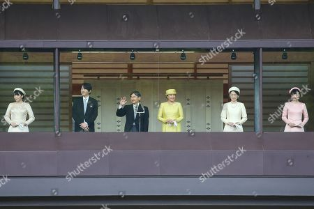 Japan's Princess Mako, Crown Prince Akishino, new Emperor Naruhito, new Empress Masako, Crown Princess Akishino and Princess Kako appear during their first public greeting at the East Plaza, Imperial Palace