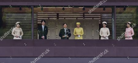 Stock Picture of Japan's Princess Mako, Crown Prince Akishino, new Emperor Naruhito, Empress Masako, Crown Princess Akishino and Princess Kako appear during their first public greeting at the East Plaza of Imperial Palace