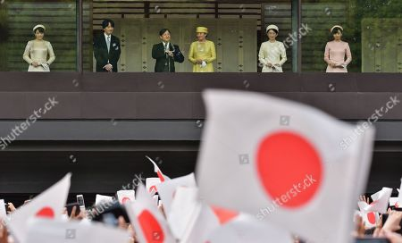 Stock Image of Japan's Princess Mako, Crown Prince Akishino, new Emperor Naruhito, Empress Masako, Crown Princess Akishino and Princess Kako appear during their first public greeting at the East Plaza of Imperial Palace