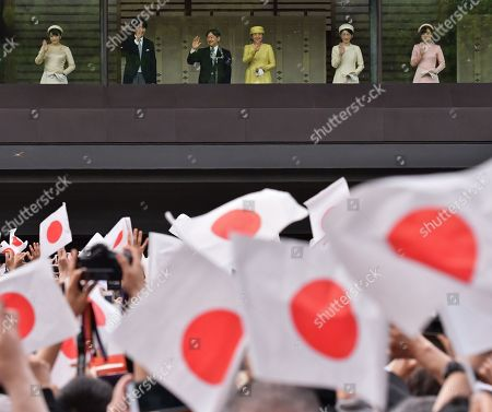 Stock Photo of Japan's Princess Mako, Crown Prince Akishino, new Emperor Naruhito, Empress Masako, Crown Princess Akishino and Princess Kako appear during their first public greeting at the East Plaza of Imperial Palace