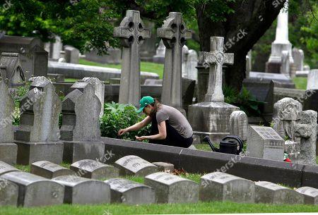 Volunteer Jennifer Walker clears an area as she plants on the Keen family plot at the Woodlands Cemetery in Philadelphia