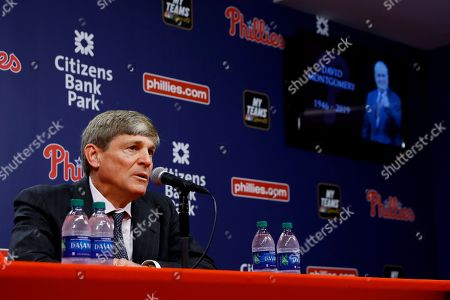 Philadelphia Phillies managing partner John Middleton speaks during a news conference about the passing of team chairman David Montgomery, in Philadelphia. The Phillies say Montgomery, 72, has passed away after a lengthy battle with cancer
