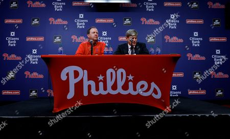 John Middleton, David Buck. Philadelphia Phillies managing partner John Middleton, right, and executive vice president David Buck speak during a news conference about the passing of team chairman David Montgomery, in Philadelphia. The Phillies say Montgomery, 72, has passed away after a lengthy battle with cancer