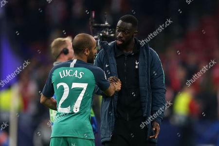 Former captain Ledley King congratulates hat trick hero Lucas of Tottenham Hotspur after AFC Ajax vs Tottenham Hotspur, UEFA Champions League Football at the Johan Cruyff Arena on 8th May 2019