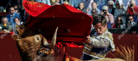 Spanish bullfighter Julian Lopez 'El Juli' fights his first bull during an April's Fair bullfight at Real Maestranza bullring in Seville, Andalusia, Spain, 08 May 2019.