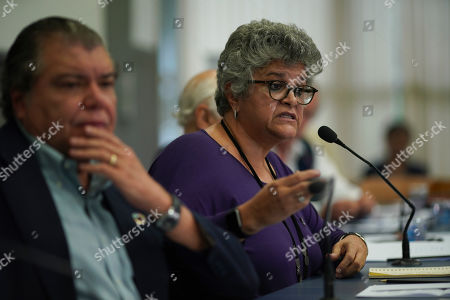 Former Environment Minister Izabella Teixeira, right, speaks to reporters in Sao Paulo, Brazil, . Eight former environmental ministers presented a joint letter denouncing the administration of President Jair Bolsonaro
