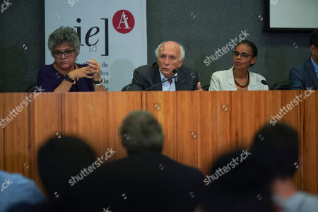 """Stock Image of Izabella Teixeira, Rubens Ricupero, Marina Silva. Former Brazilian Environment Ministers, from left, Izabella Teixeira, Rubens Ricupero and Marina Silva, attend a news conference in Sao Paulo, Brazil, . Eight former Brazilian environment ministers lashed out at far-right President Jair Bolsonaro on Wednesday, saying his administration is """"wrecking"""" environmental protections"""