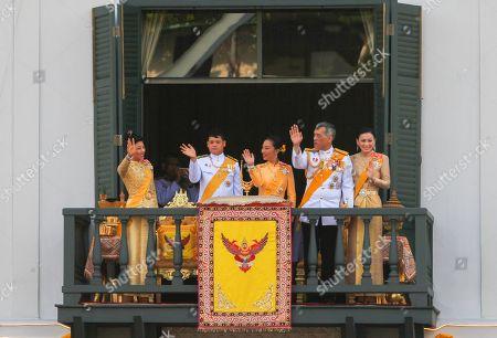 Members of the Thai royal family Princess Sirivannavari Nariratana, Prince Dipangkorn Rasmijoti, Princess Bajrakitiyabha, King Maha Vajiralongkorn Bodindradebayavarangkun and Queen Suthida appear on the balcony of Suddhaisavarya Prasad Hall of the Grand Palace during a public audience on the last day of his royal coronation in Bangkok.