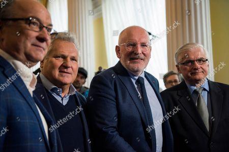 Former President of Poland Aleksander Kwasniewski, Frans Timmermans and Wlodzimierz Cimoszewicz