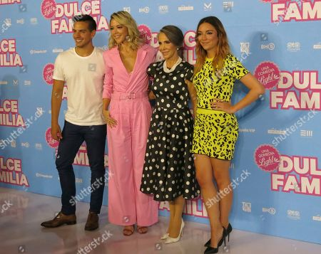 "Vadhir Derbez, Fernanda Castillo, Florinda Meza and Regina Blandón of the Mexican film ""Dulce Familia"" pose during a press conference in Mexico City. The film premieres on May 10 in Mexico"