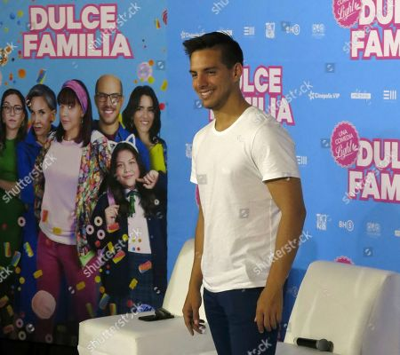 "Vadhir Derbez, of the Mexican film ""Dulce Familia"" poses during a press conference in Mexico City. The film premieres on May 10 in Mexico"