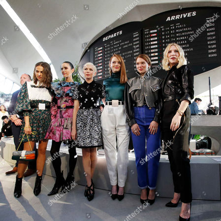 Stock Photo of (L-R) Swedish actress Alicia Vikander, US actress Jennifer Connelly, US actress Michelle Williams, US actress Emma Stone, French actress Lea Seydoux and Australian actress Cate Blanchett pose for a photograph before the start of French designer Nicolas Ghesquiere show for the Louis Vuitton label during the Louis Vuitton Cruise 2020 Show at the TWA Flight Center of John F. Kennedy International Airport in New York, New York, USA, 08 May 2019.