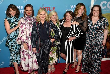 "Stock Photo of Tina Fey, Maya Rudolph, Amy Poehler, Paula Pell, Rachel Dratch, Ana Gastayer, Emily Spivey. Cast members Tina Fey, left, Maya Rudolph, Amy Poehler, Paula Pell, Rachel Dratch, Ana Gastayer and Emily Spivey attend the premiere of ""Wine Country"" at The Paris Theatre, in New York"
