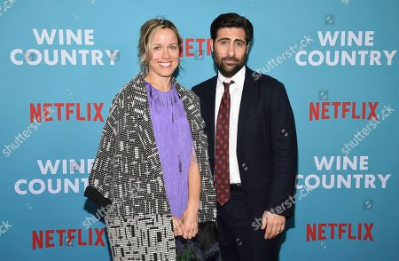 """Stock Image of Brady Cunningham, Jason Schwartzman. Actor Jason Schwartzman, left, and wife Brady Cunningham attend the premiere of """"Wine Country"""" at The Paris Theatre, in New York"""