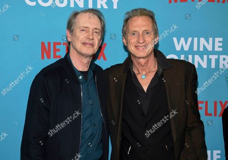 """Steve Buscemi, Michael Buscemi. Actors Steve Buscemi, left, and Michael Buscemi attend the premiere of """"Wine Country"""" at The Paris Theatre, in New York"""