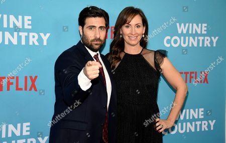 "Jason Schwartzman, Liz Cackowski. Actor Jason Schwartzman, left, and writer-actress Liz Cackowski pose together at the premiere of ""Wine Country"" at The Paris Theatre, in New York"