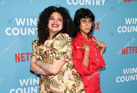 """Michelle Buteau, Sunita Mani. Actors Michelle Buteau, left, and Sunita Mani attend the premiere of """"Wine Country"""" at The Paris Theatre, in New York"""