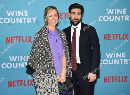 "Stock Photo of Brady Cunningham, Jason Schwartzman. Actor Jason Schwartzman, left, and wife Brady Cunningham attend the premiere of ""Wine Country"" at The Paris Theatre, in New York"