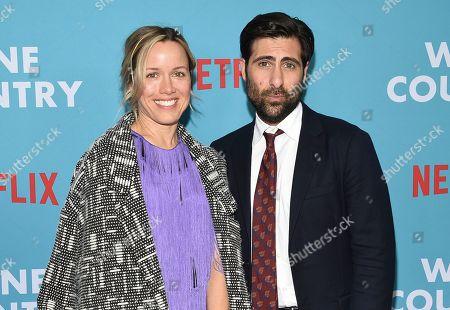 "Brady Cunningham, Jason Schwartzman. Actor Jason Schwartzman, left, and wife Brady Cunningham attend the premiere of ""Wine Country"" at The Paris Theatre, in New York"