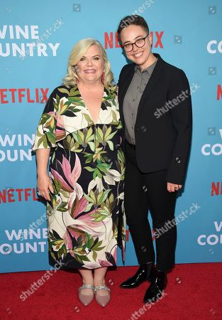 """Paula Pell, Janine Brito. Paula Pell, left, and Janine Brito attend the premiere of """"Wine Country"""" at The Paris Theatre, in New York"""