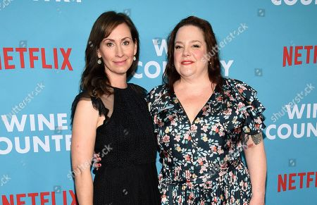 """Stock Picture of Liz Cackowski, Emily Spivey. Writers Liz Cackowski, left, and Emily Spivey attend the premiere of """"Wine Country"""" at The Paris Theatre, in New York"""