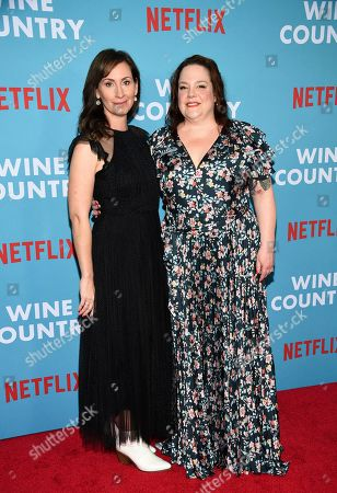 """Liz Cackowski, Emily Spivey. Writers Liz Cackowski, left, and Emily Spivey attend the premiere of """"Wine Country"""" at The Paris Theatre, in New York"""
