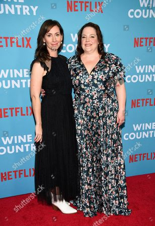 """Stock Image of Liz Cackowski, Emily Spivey. Writers Liz Cackowski, left, and Emily Spivey attend the premiere of """"Wine Country"""" at The Paris Theatre, in New York"""