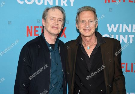 """Stock Photo of Steve Buscemi, Michael Buscemi. Actors Steve Buscemi, left, and Michael Buscemi attend the premiere of """"Wine Country"""" at The Paris Theatre, in New York"""