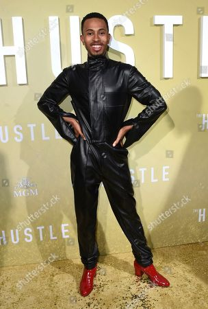 """Kalen Allen arrives at the Los Angeles premiere of """"The Hustle"""" at Arclight Hollywood on"""