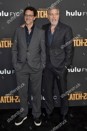 "Grant Heslov, George Clooney. Grant Heslov, left, and George Clooney attend Hulu's ""Catch-22"" FYC event at the Television Academy, in Los Angeles"