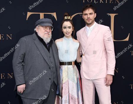 George R. R. Martin, Lily Collins and Nicholas Hoult