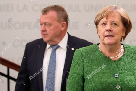 German Federal Chancellor Angela Merkel and Denmark's Prime Minister Lars Lokke Rasmussen (rear) during an Informal Summit of Heads of State or Government of the EU countries in Sibiu, Romania, 09 May 2019. EU leaders are expected to discuss the union's strategic agenda for the 2019-2024 period as well as exchanging views on EU challenges and priorities for the years to come.