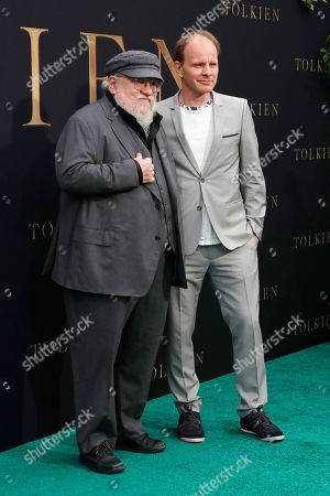George R. R. Martin (GRRM) and Finnish director Dome Karukoski (R) arrive for the LA Special Screening of Fox Searchlight Pictures 'Tolkien' at the Regency Village Theater in Westwood, Los Angeles, California, USA, 08 May 2019. The movie opens in US theaters on 10 May 2019.