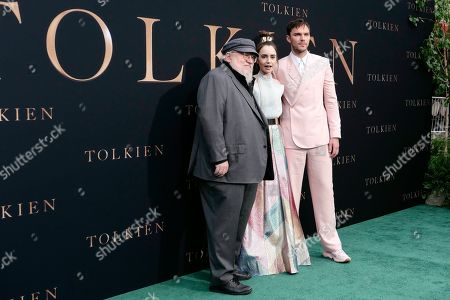 George R. R. Martin (GRRM) with cast members US-British actress Lily Collins and British actor Nicholas Hoult arrive for the LA Special Screening of Fox Searchlight Pictures 'Tolkien' at the Regency Village Theater in Westwood, Los Angeles, California, USA, 08 May 2019. The movie opens in US theaters on 10 May 2019.