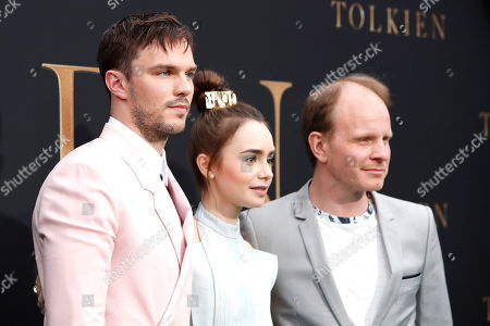 Stock Image of Nicholas Hoult (L) and US-British actress Lily Collins with Finnish director Dome Karukoski arrive for the LA Special Screening of Fox Searchlight Pictures 'Tolkien' at the Regency Village Theater in Westwood, Los Angeles, California, USA, 08 May 2019. The movie opens in US theaters on 10 May 2019.