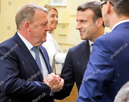 France's President Emmanuel Macron (R) greets Denmark's Prime Minister Lars Lokke Rasmussen (L) prior to an opening session of an Informal Summit of Heads of State or Government of the EU countries in Sibiu, Romania, 09 May 2019. EU leaders are expected to discuss the union's strategic agenda for the 2019-2024 period as well as exchanging views on EU challenges and priorities for the years to come.